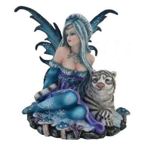 Figurine Fee avec Lion -- 14cm