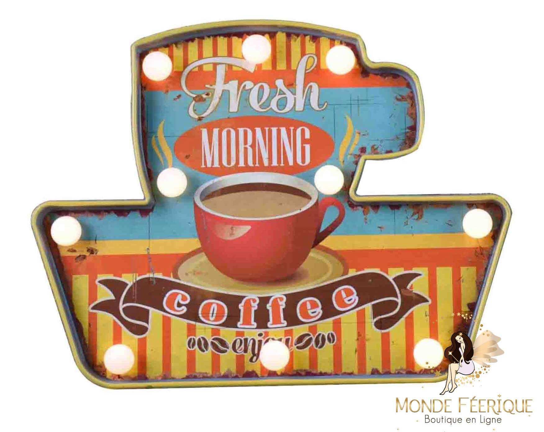 "Plaque Métal Lumineuse ""Morning Café"""