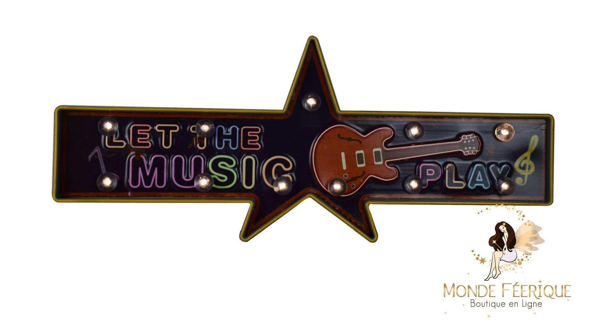 """Plaque Métal Lumineuse """"Musique"""""""