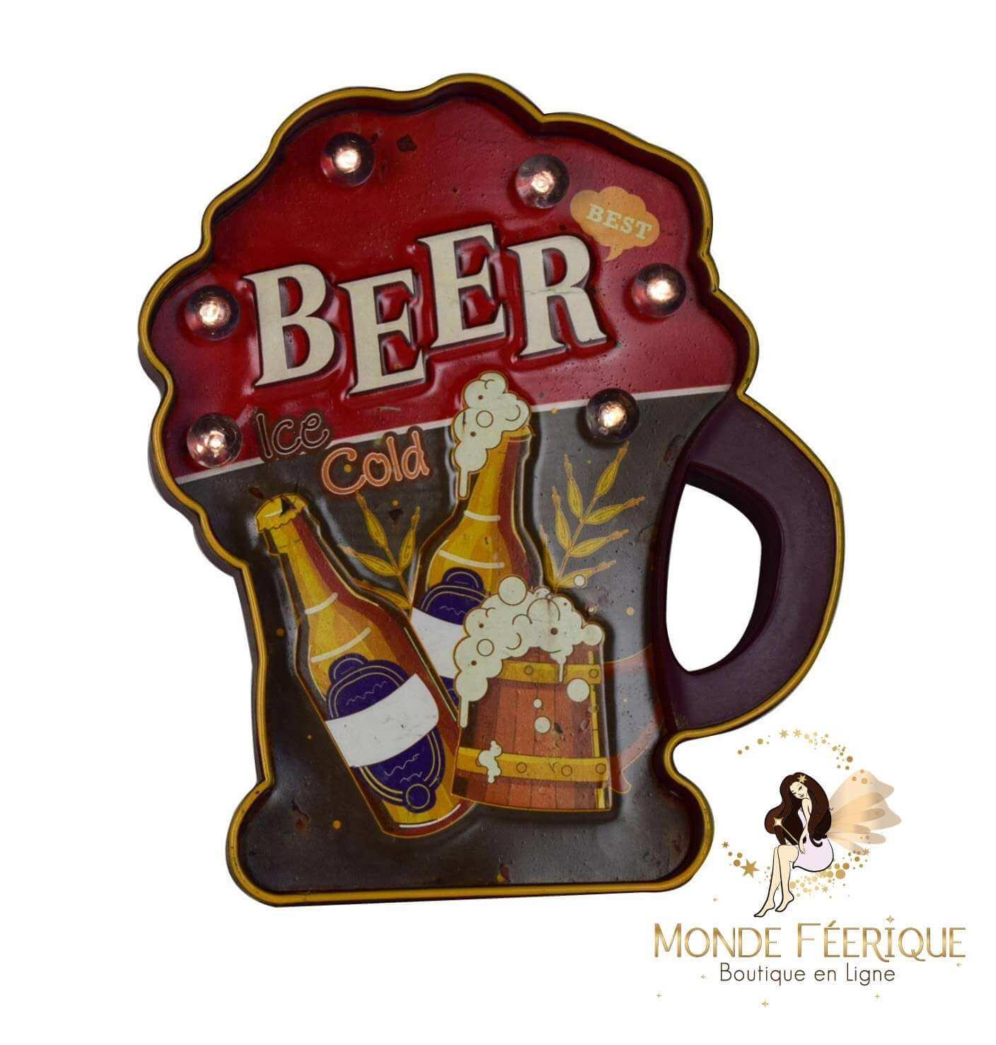 """Plaque Métal Lumineuse """"Bière"""""""