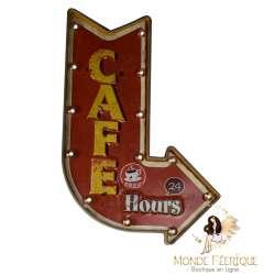 "Plaque Métal Lumineuse ""Café US"""
