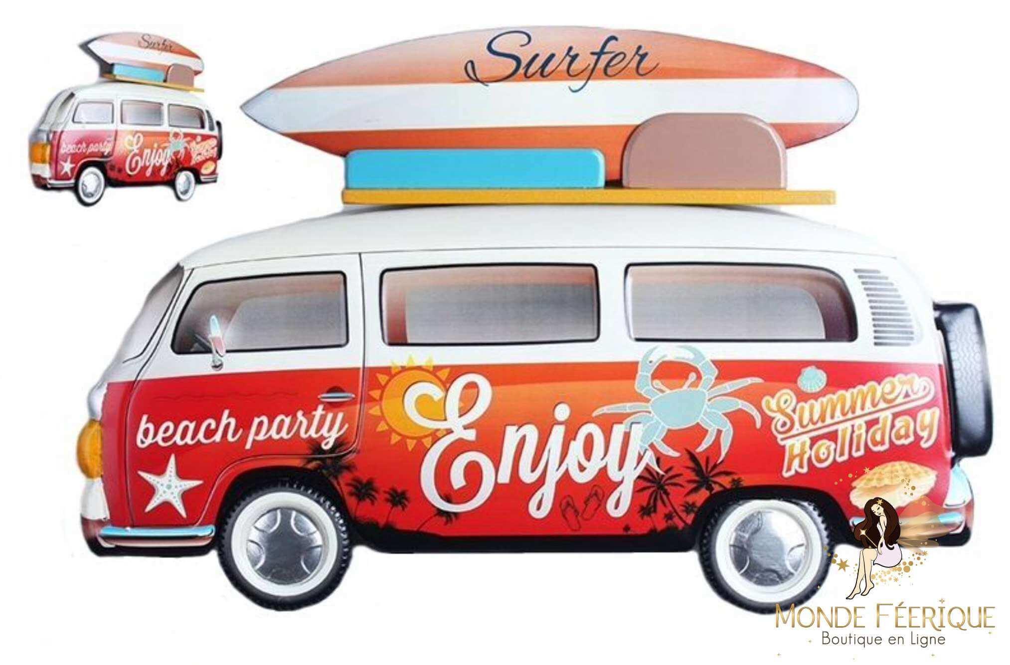 Plaque Métal Surf Cool Rouge 62cm