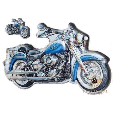 Plaque Métal LED Moto Bleu - décoration mur motos plaque vintage decoration