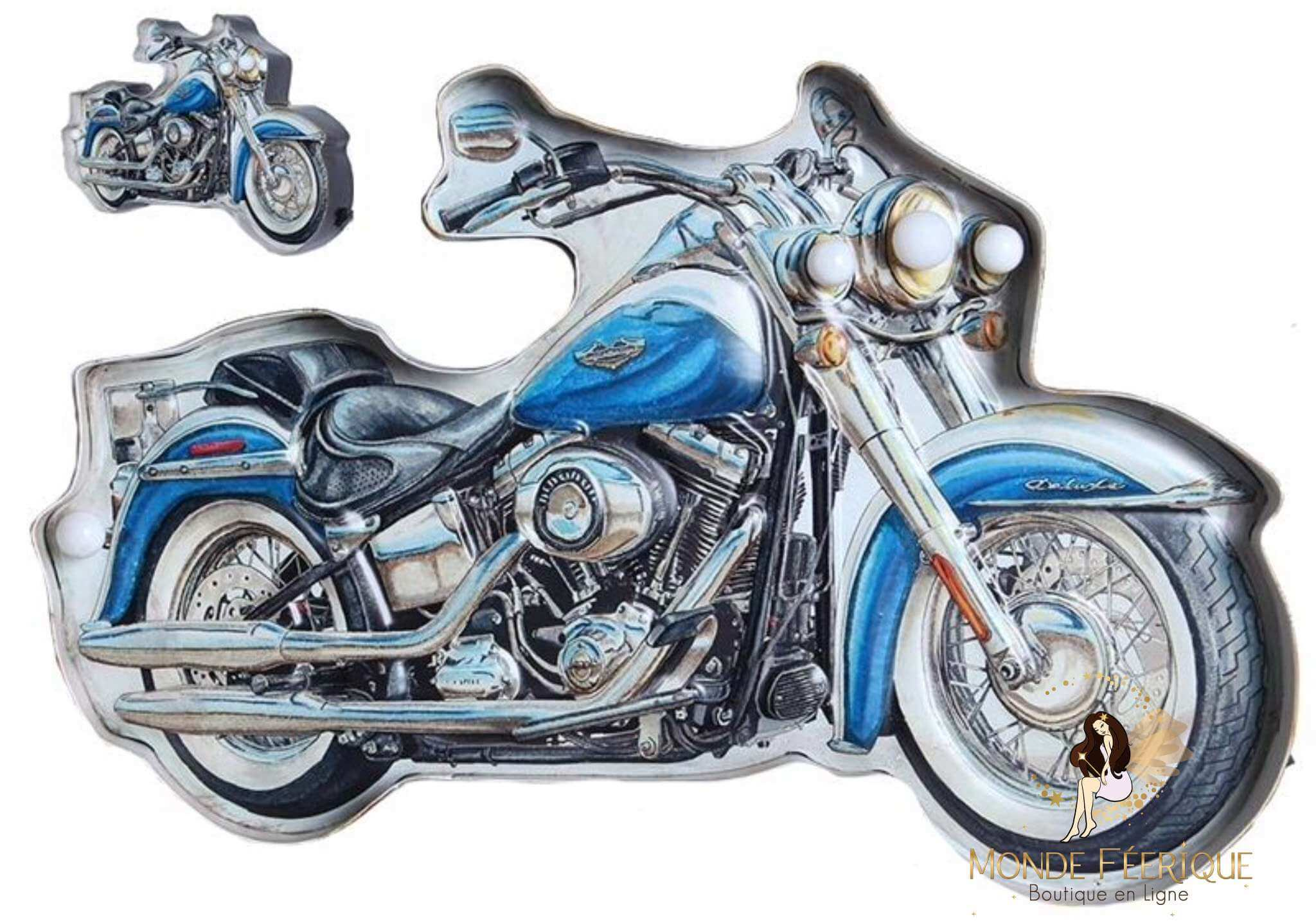Plaque Métal LED Moto Bleu