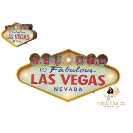 Plaque Métal LED Las Vegas Vintage USA