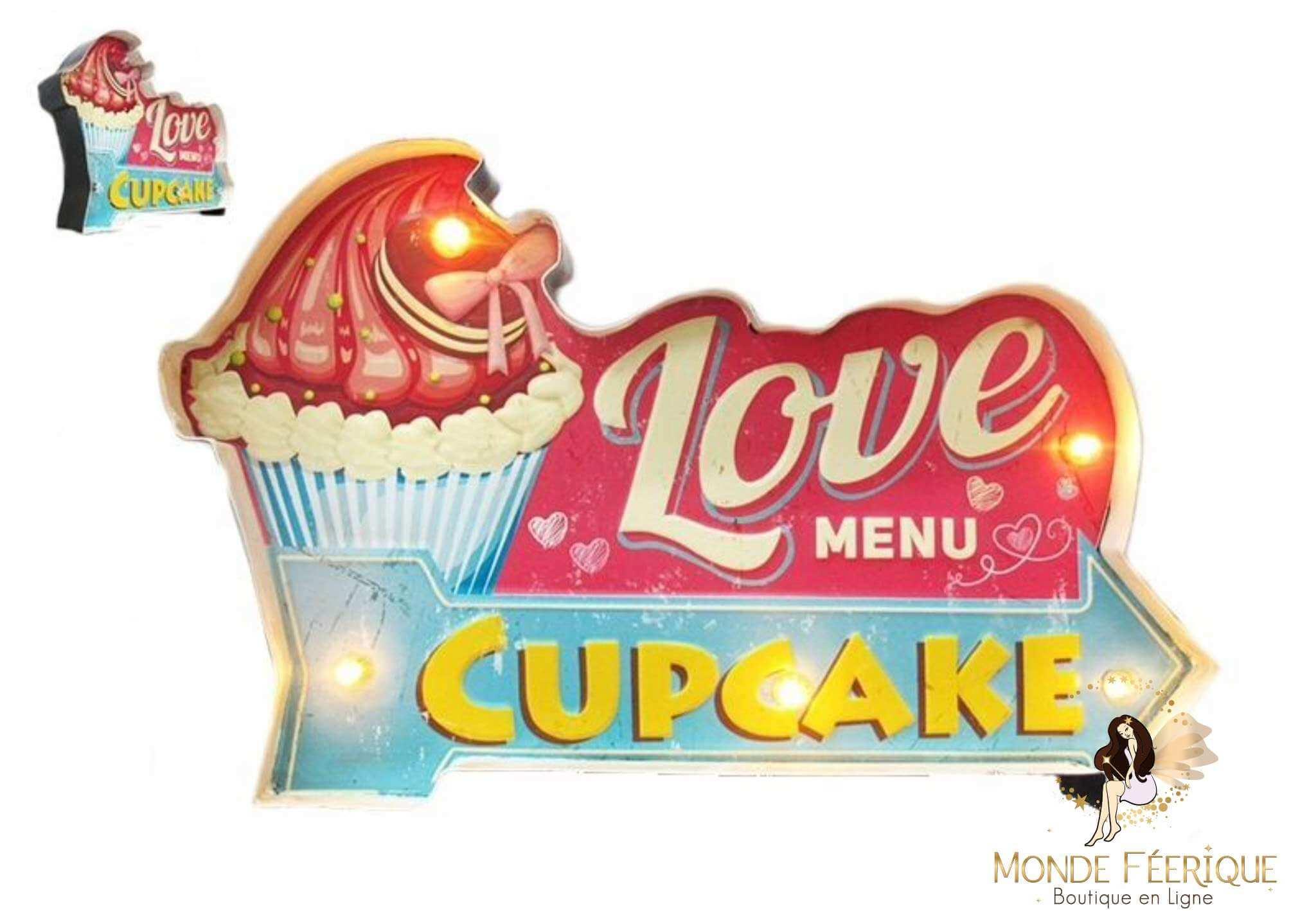 Plaque Métal LED Cupcake Vintage