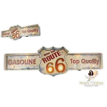 Plaque Métal LED Route 66 Vintage