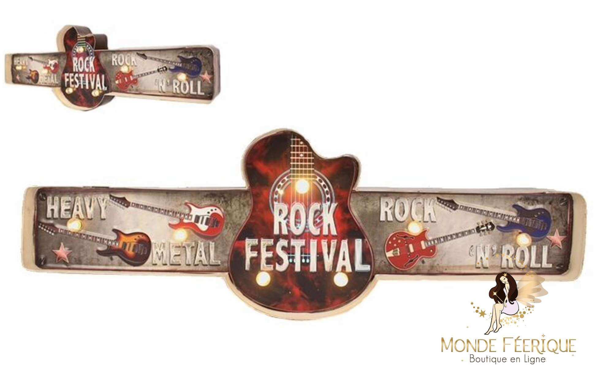 Plaque Métal LED Festival Rock Musique