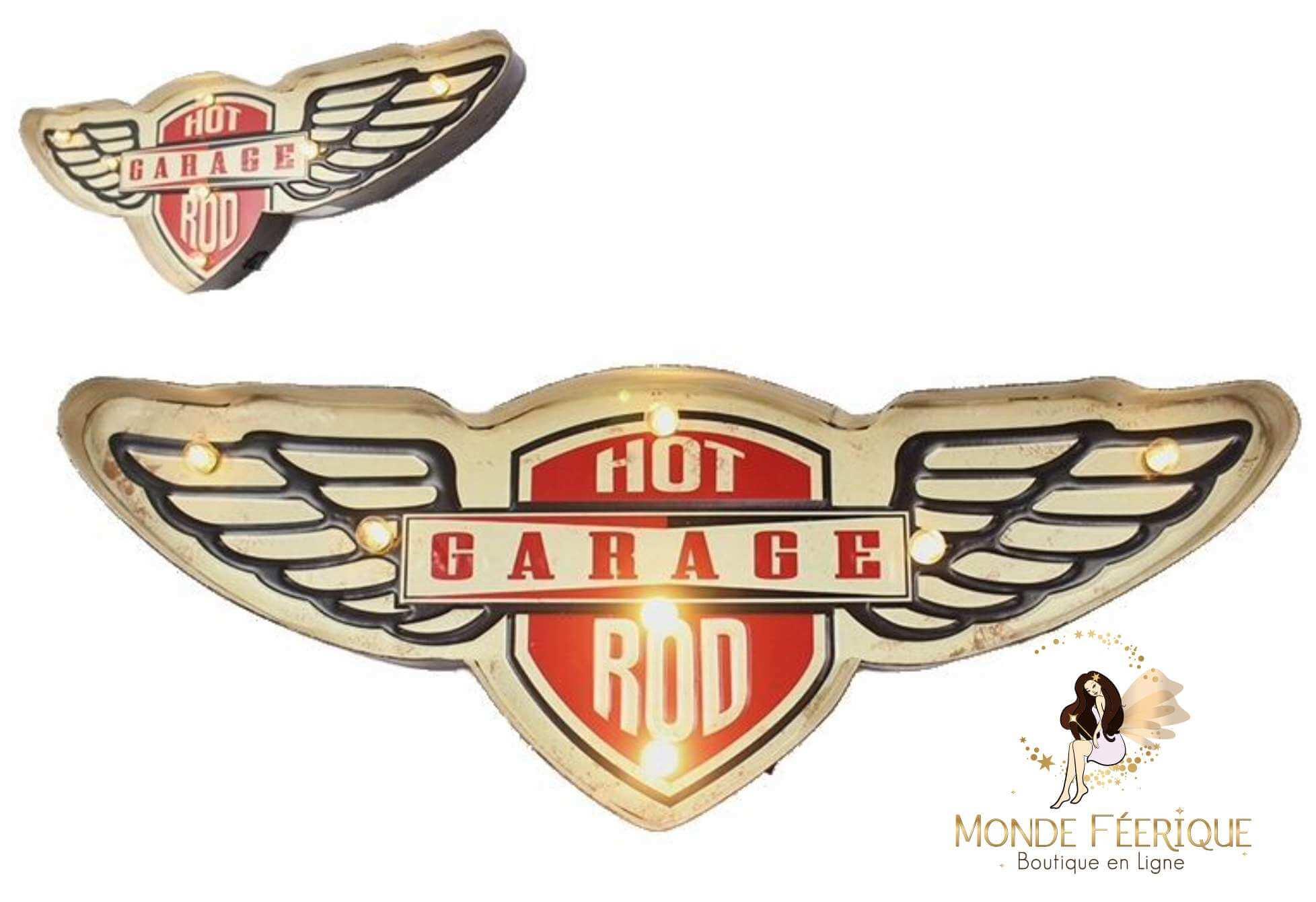 Plaque Métal Lumineux Garage USA aile d'ange