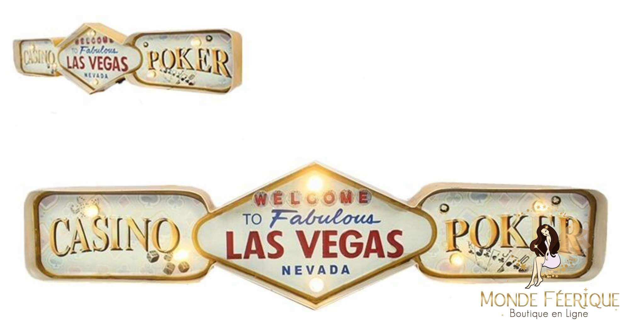 Plaque Métal Lumineux LAS VEGAS - Casino USA - Poker