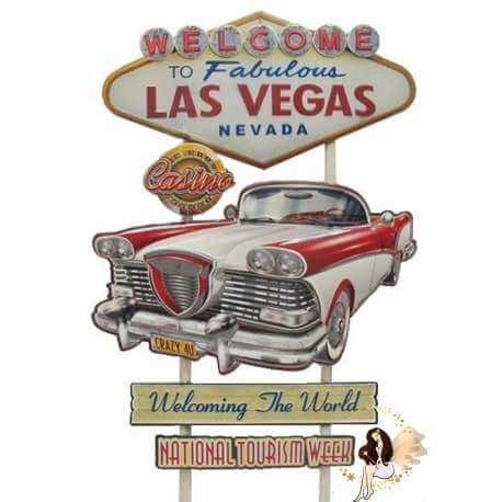 Plaque Métal Lumineux Las Vegas USA 78cm