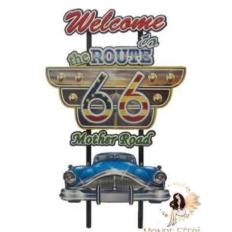 Plaque Métal Lumineux Las Vegas Route66 75cm