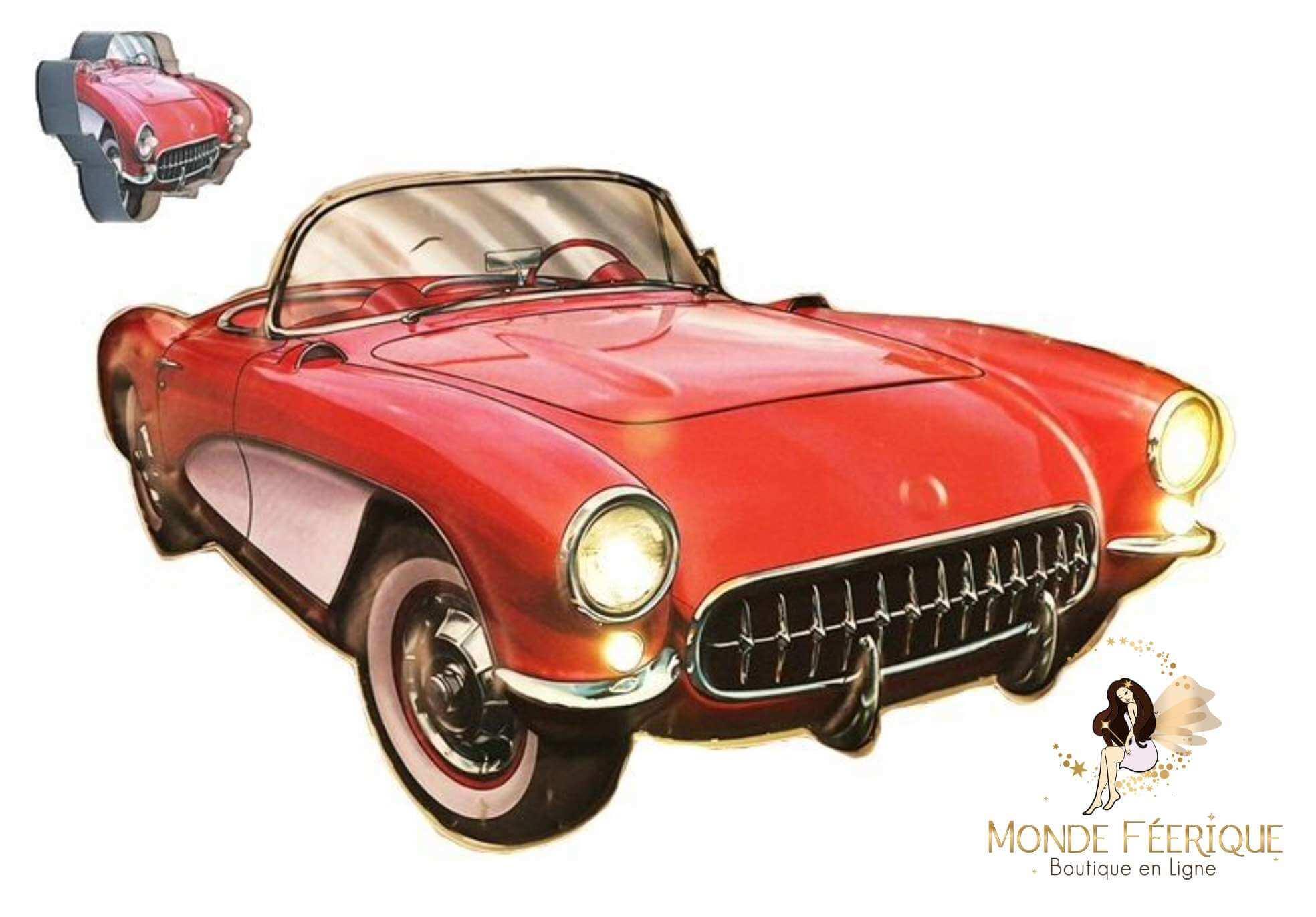 Plaque Métal Lumineux Corvette US déco 53cm
