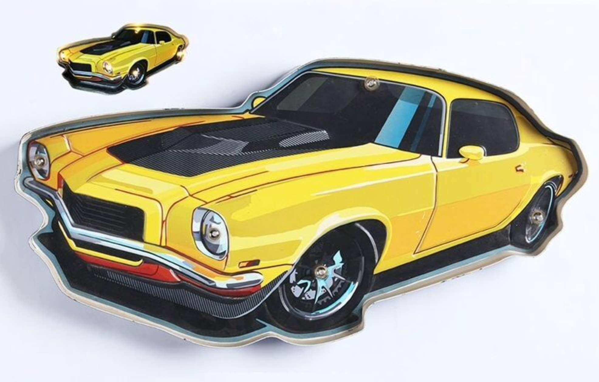 Plaque Led Corvette Jaune 56cm