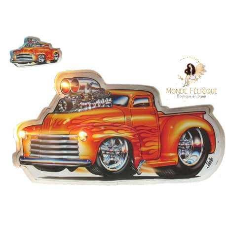 Plaque vintage USA - Camion pompier USA decoration murale lumineux