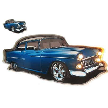 plaque lumineuse murale vieille voiture - voiture vintage decoration mur - plaque metallique led