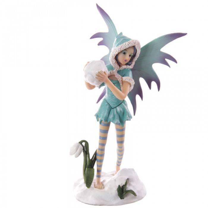 Figurine Fée Bleutée avec Neige -- 25cm