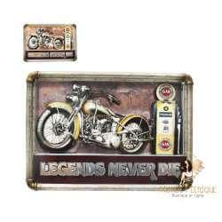 Plaque Metal Led Lumineux Biker Moto Vintage 53cm