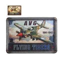 Plaque Metal Led Lumineux Avion Vintage 53cm