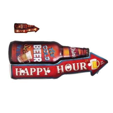 Plaque Metal Led Bière Happy Hour 55cm