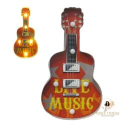 Plaque Metal Led Guitare Musique 41cm