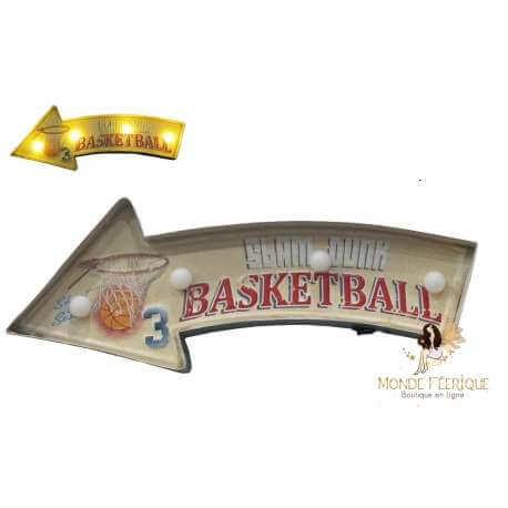 Plaque metal Led basket Mur et mural sport décoration 42cm