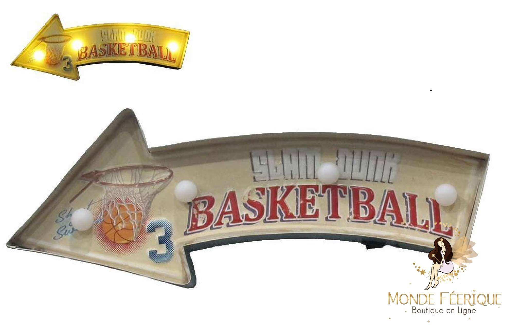 Plaque Metal Led Basket Sport 42cm