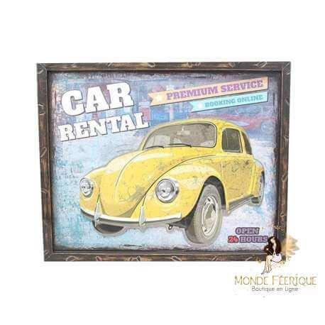 décoration mur voitures anciennes - décoration voiture vintage - plaque metal mur voiture