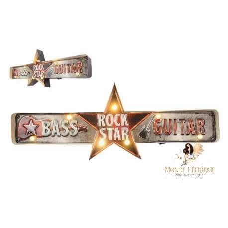 déco mur lumineux rock et rock and roll - plaque led rock - plaque lumineux déco rock et musique
