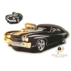 Plaque Metal LED Vieiille voiture noire 57cm