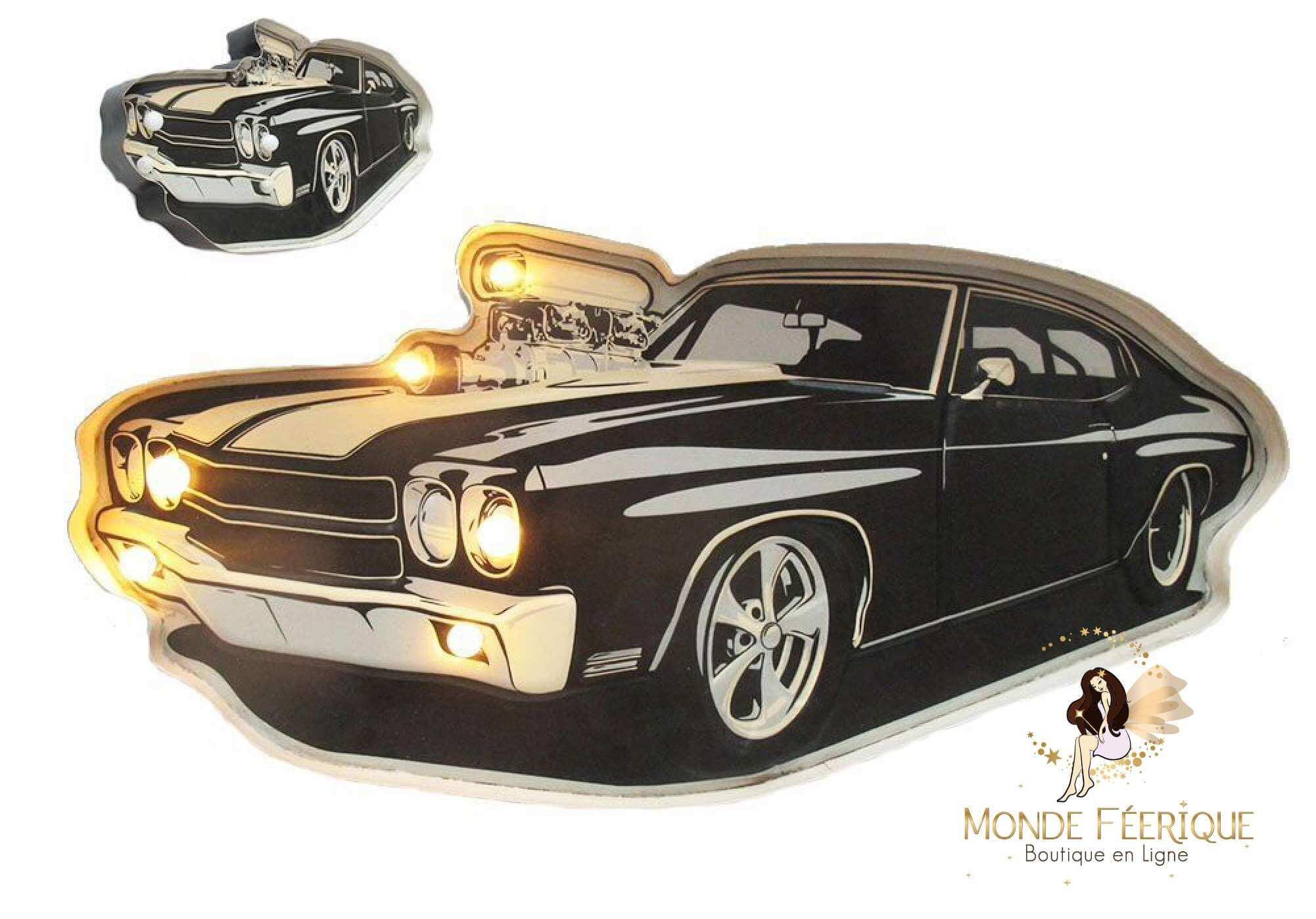 Plaque Metal LED Vieille voiture noire 57cm