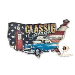 Plaque LED Carte USA et voiture - 52cm