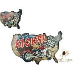 Plaque retro Carte USA et Moto - 52cm