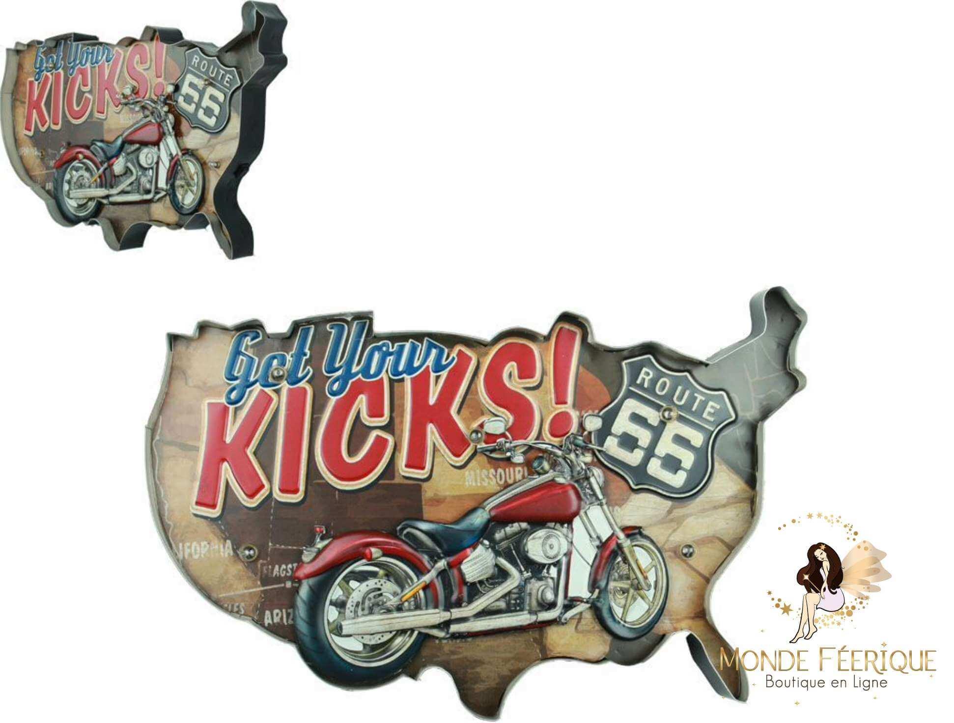 Plaque LED Carte USA et Moto - 52cm