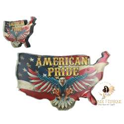 Plaque metal Carte USA et Aigle - 52cm