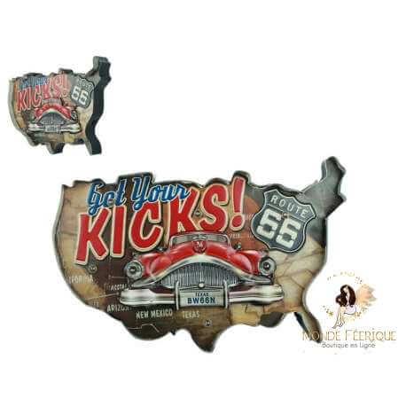Plaque metal Carte USA - 52cm