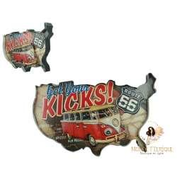 décoration USA bus americain - plaque lumineux carte etats unis