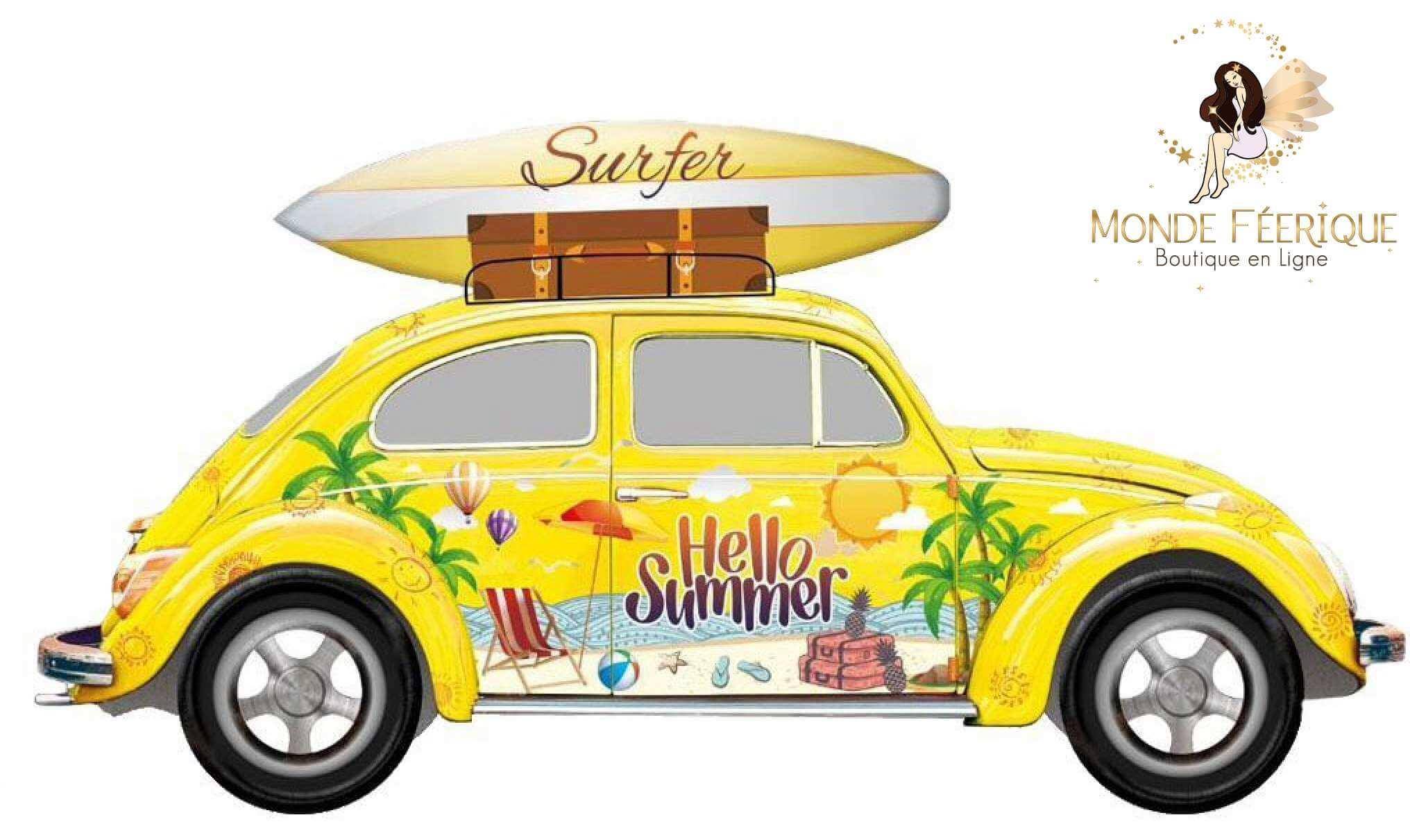 """Plaque Metal Surf Jaune """"En route pour surfer"""" 51cm"""
