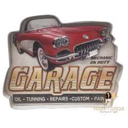 Plaque Metal LED Garage Auto 38cm