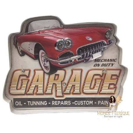 plaque métal lumineux avec voiture rétro garage décoration maison