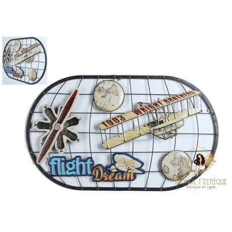 plaque lumineux avec avion pour décorer - plaque vintage pour mur, décoration murale 75cm