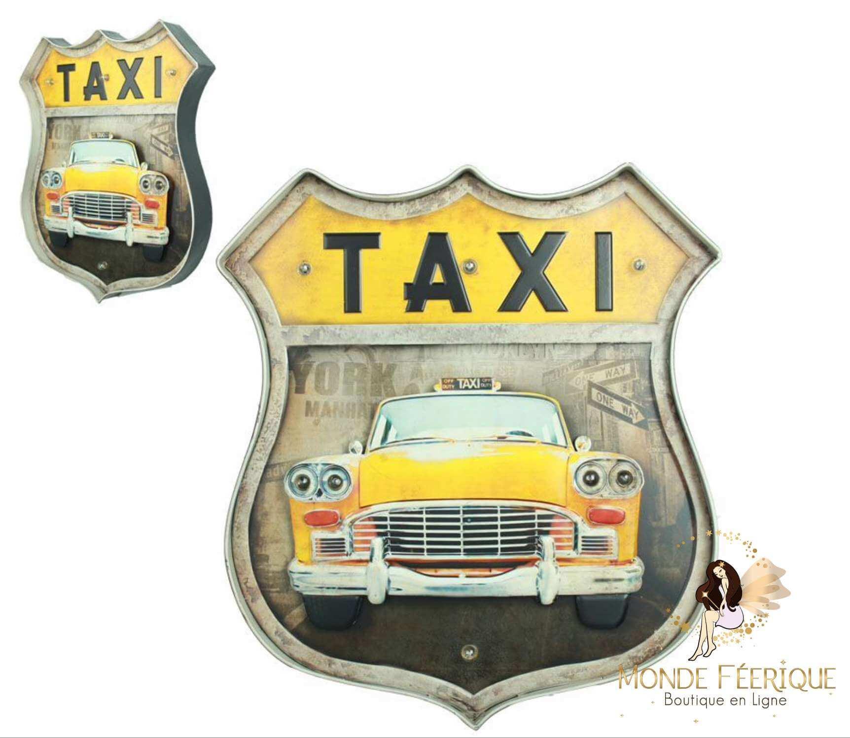 Plaque Metal Lumineux Taxi Jaune NYC 46cm