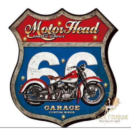 Plaque Metal Lumineux Route 66 & Moto USA 46cm