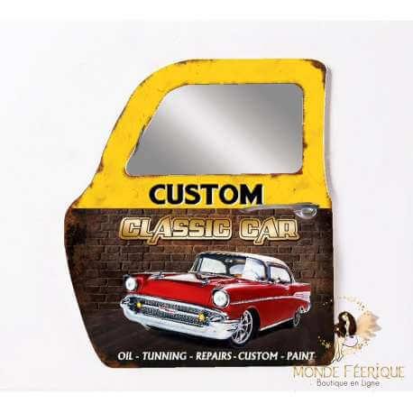 Plaque / Porte Miroir Vintage USA- Décoration portière Jaune 47cm