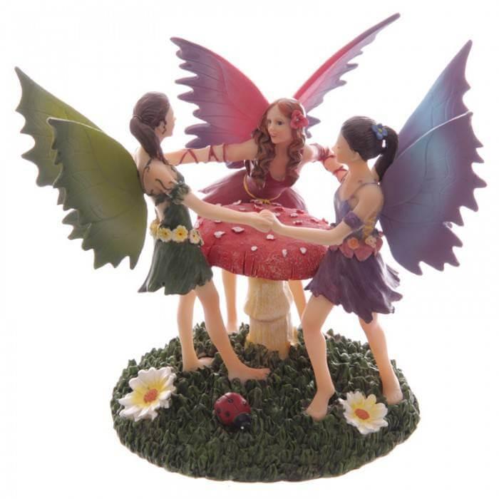 Trio Figurines Fées Dansantes -- 16x19cm