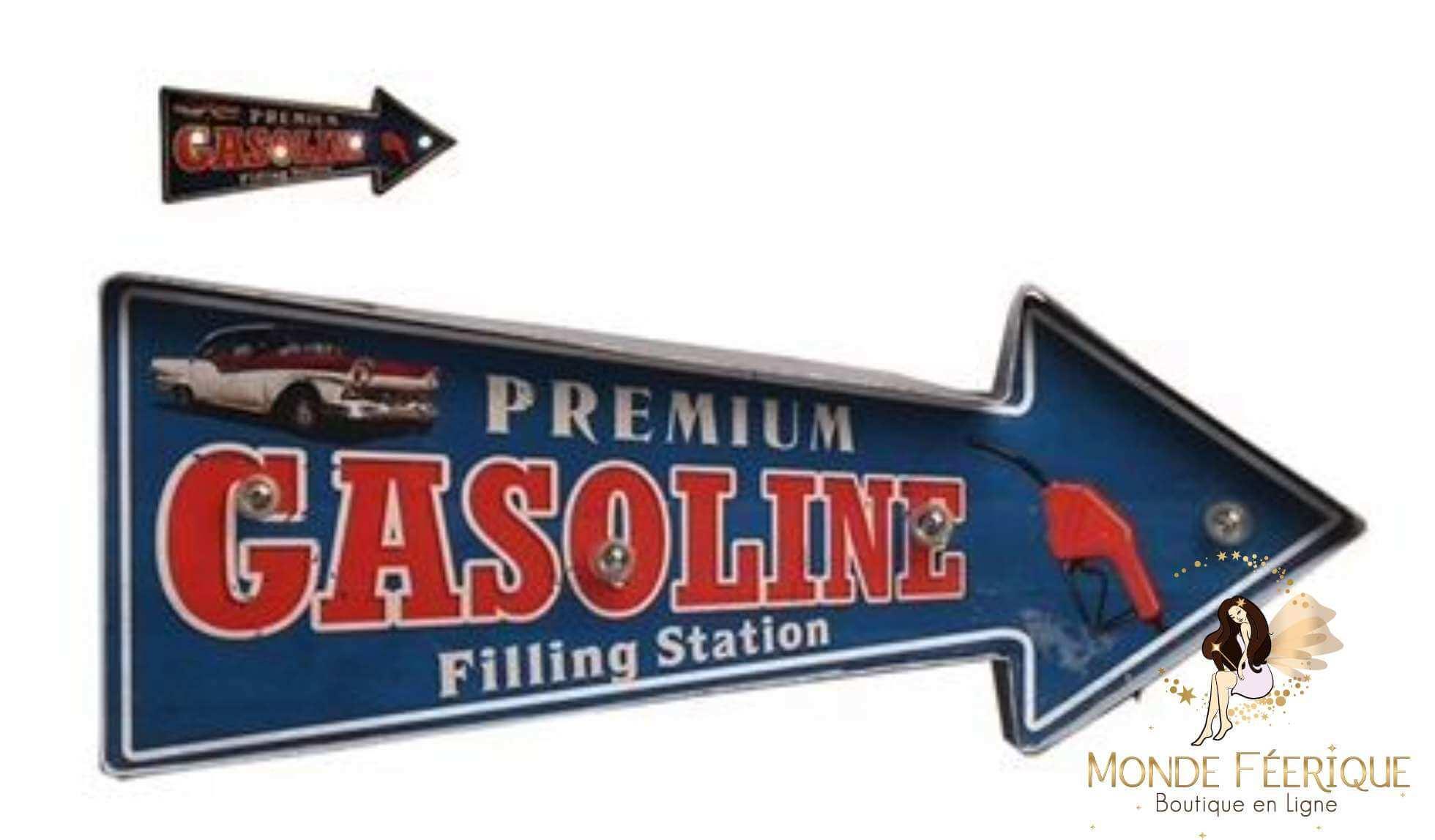 Plaque Metal LED Voiture et Cadillac Vintage 42cm