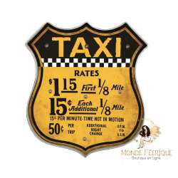 Plaque retro Taxi Jaune USA