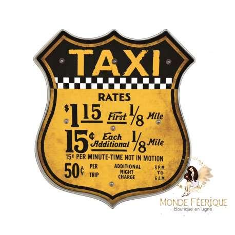 Plaque Metal Lumineux Taxi Jaune USA 46cm
