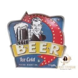 Plaque Metal Led Bière pour la pause 46cm