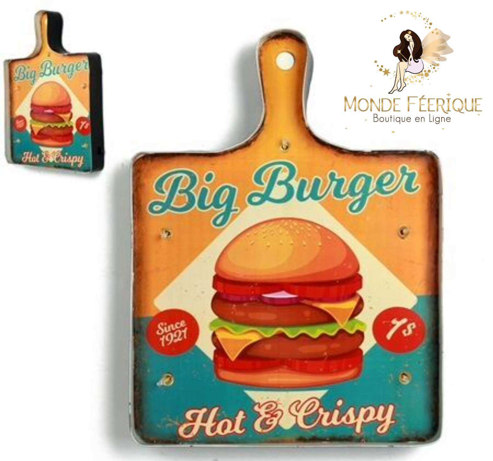Plaque Metal Lumineux Burger Hipster Food 42cm